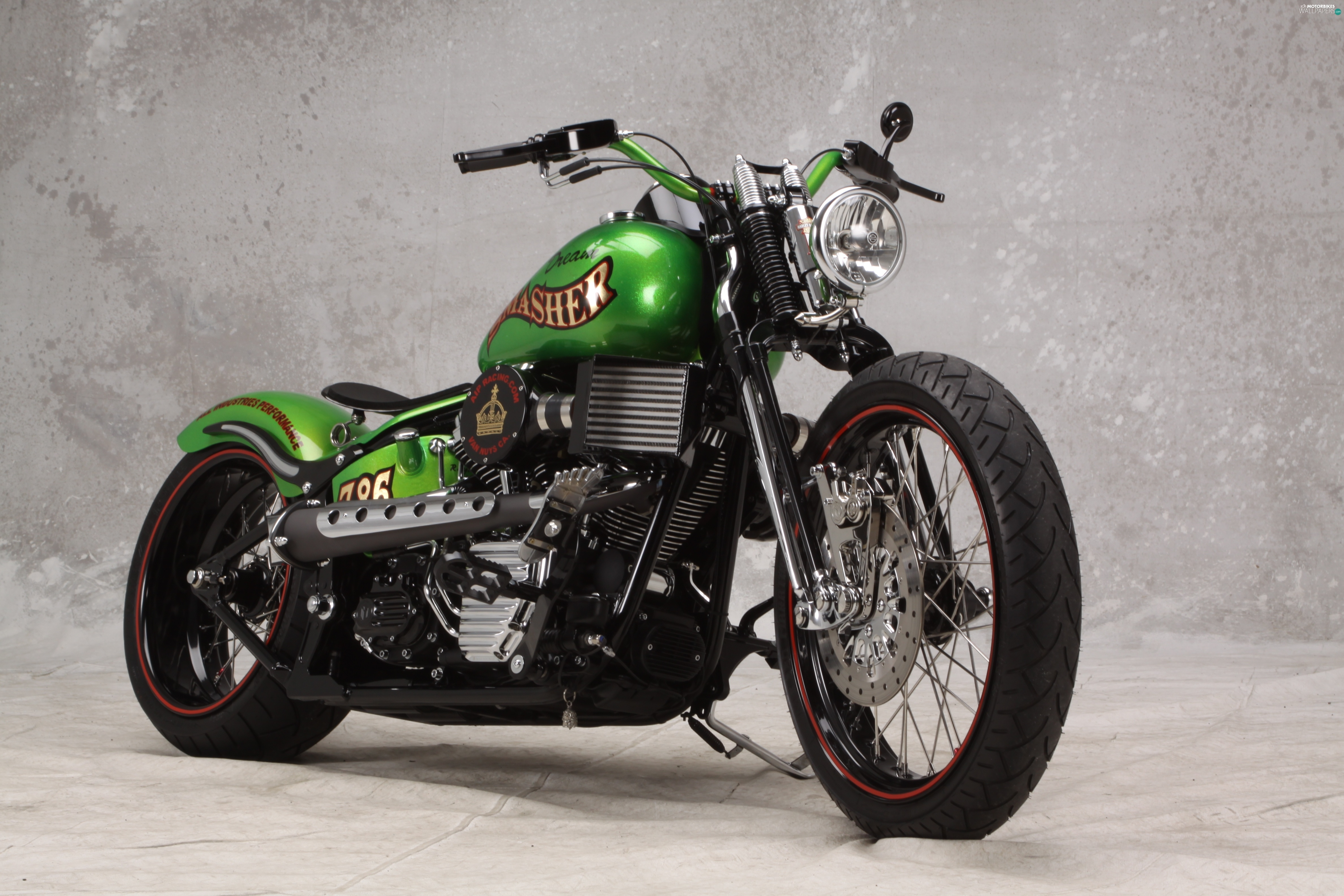 Harley-Davidson, antique, Green