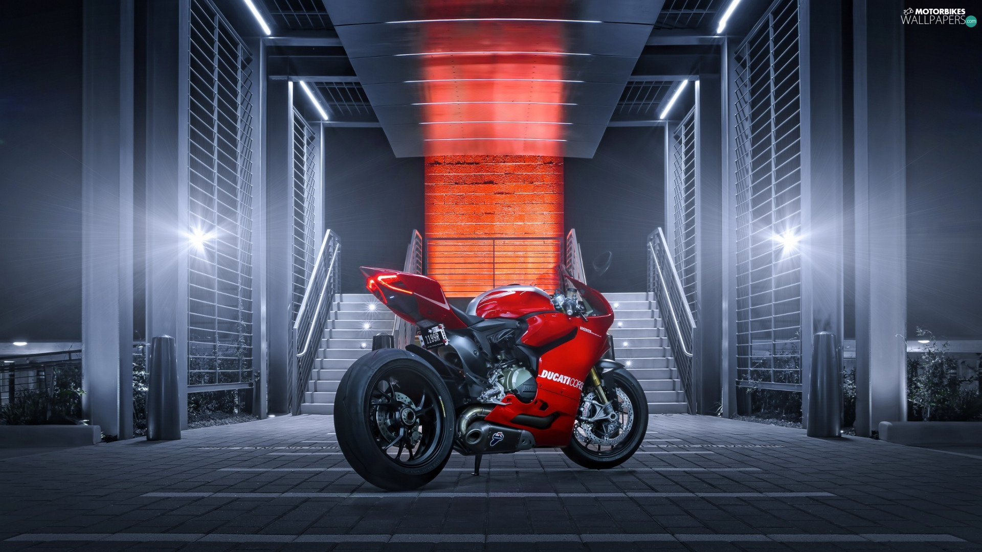 Ducati 1199 Paginale, Red, motor-bike