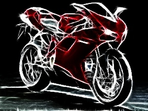 Red, graphics, Ducati 1198, motor-bike