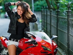 Lovely, girl, Motorbike, smiling
