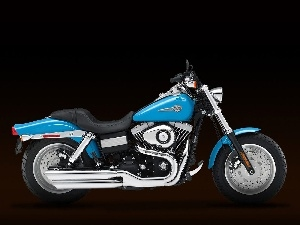 blue, polished, exhausts, Harley Davidson Fat Bob
