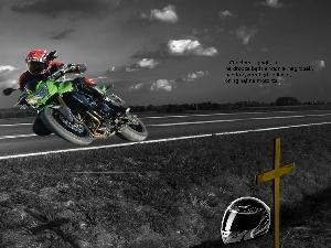 Cross, Motorcyclist, Way, helmet